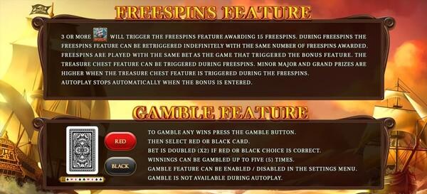การได้โบนัส FREESPINS FEATURE และ GAMEBLE FEATURE Black Beard Legacy