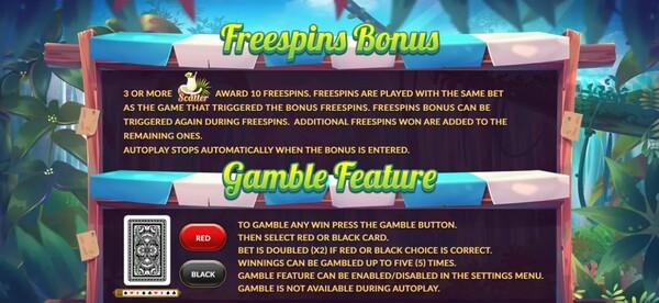 รีวิวการได้ FREESPINS BONUS AND GAMBLE FEATURE