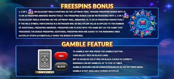 การได้โบนัส FREESPINS FEATURE และ GAMBLE FEATURE