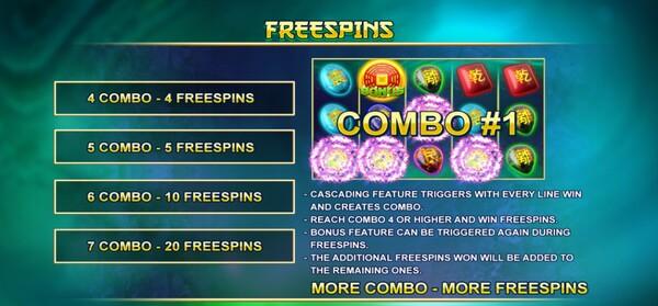 รีวิวโบนัส FREESPINS ตาม COMBO ของแถว