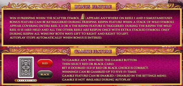 รีวิว BONUS FEATURE AND GAMEBLE FEATURE