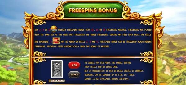 รีวิว FREESPINS BONUS AND GAMEBLE FEATURE